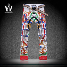 Free shipping Colored drawing print jeans slim mens pants superb america fashionable clothes outerwear imported clothing