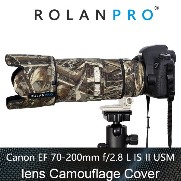 ROLANPRO Lens Clothing Camouflage Rain Cover Canon EF 70-200mm F2.8 L IS II USM Lens Protection Sleeve Guns Case DSLR Bag Canon rolanpro lens camouflage rain cover for canon ef 200mm f 2 l is usm lens protective case guns cotton clothing