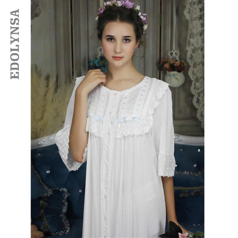 dd4fe9578de7814 Викторианский платье Винтаж пижамы с длинным романтические Ночные сорочки  плюс Размеры Для женщин Осень Хлопок Домашняя