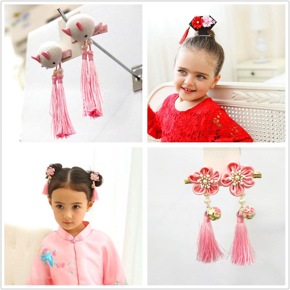 2PCS Chinese Knot Hair Clips Big Pompom Ball Tassel Hairpin Kids girl Festival drama New year barette child hair accessories J1