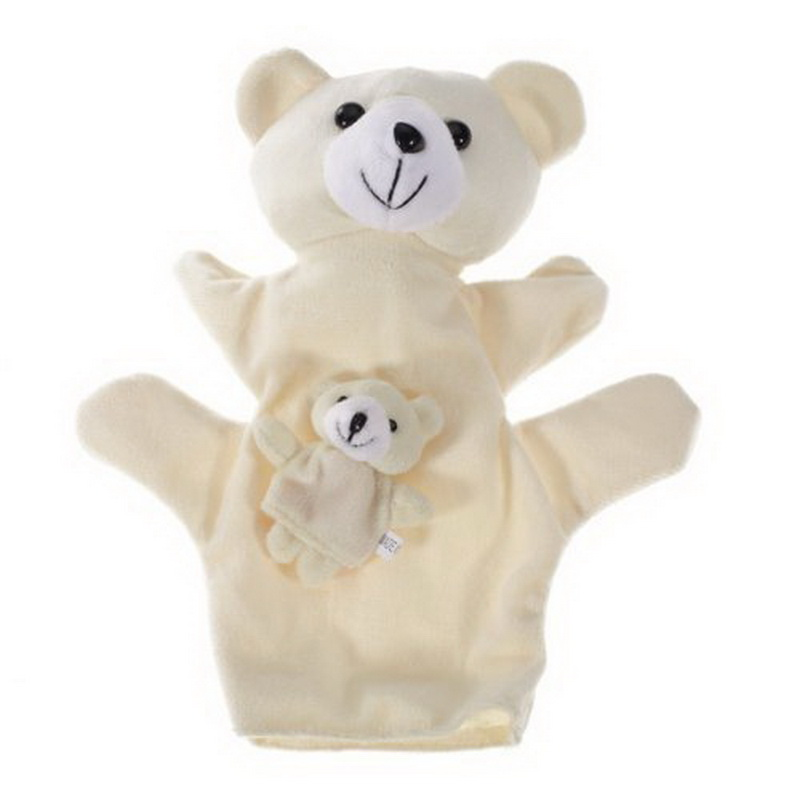 1 Pair Beige Bear Hand Puppet Finger Puppet Animal Glove Puppet Hand Dolls Plush font b