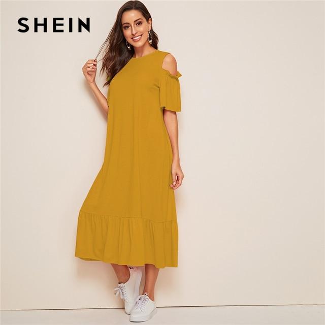 SHEIN Cold Shoulder Drop Waist Tunic Hijab Dress Modest