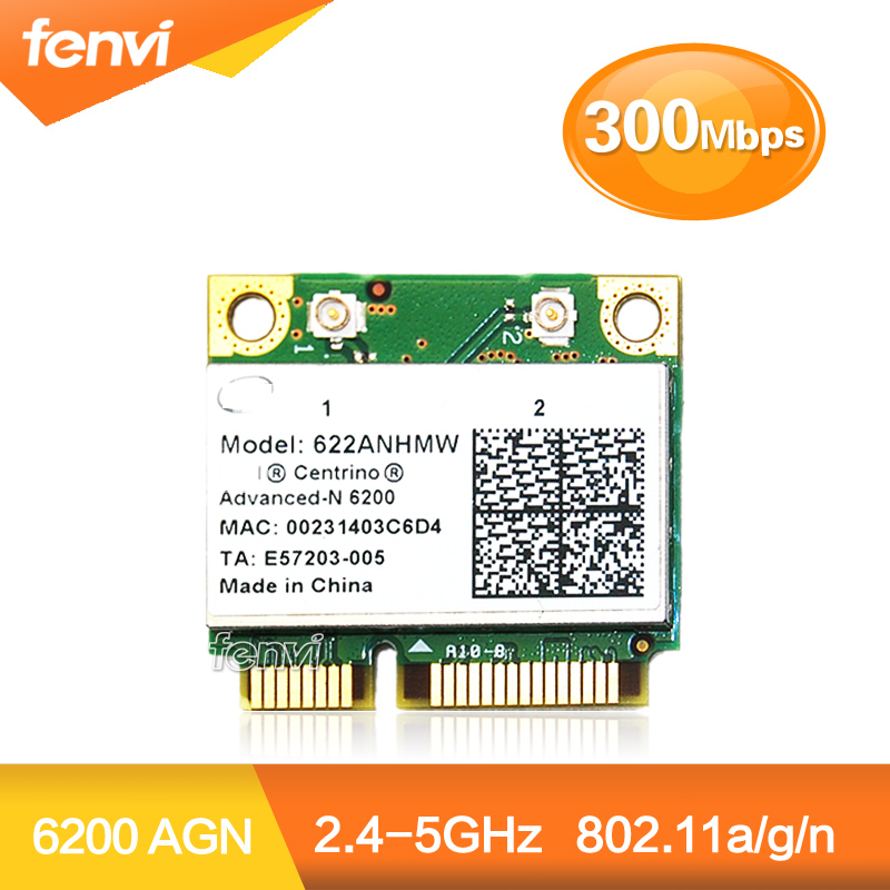 Dual band 300Mbps half Mini PCI-E Wifi Network Card Centrino Advanced-N 6200 622ANHMW 6200AGN 300M 2.4G/5GHZ WIFI Wireless card