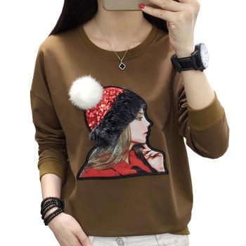 T-shirt Lange Hülse Plus Größe T Shirt Frauen Tops Casual Baumwolle Herbst Und Winter T Shirt Femme Lose T-shirt Haut femme Frauen