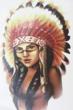 Indian Chief Girl Warrior With Feathers Hat Size 22 X 12cm Brand Body Art Tatoo Temporary Tattoo Exotic Sexy Henna Tattoo