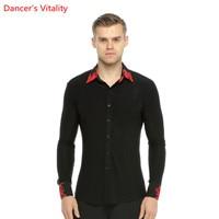 Individual Flower Collar Men Ballroom Dance Shirt Competition Performance Ballroom Modern Salsa Tango Samba Latin Mens Shirts