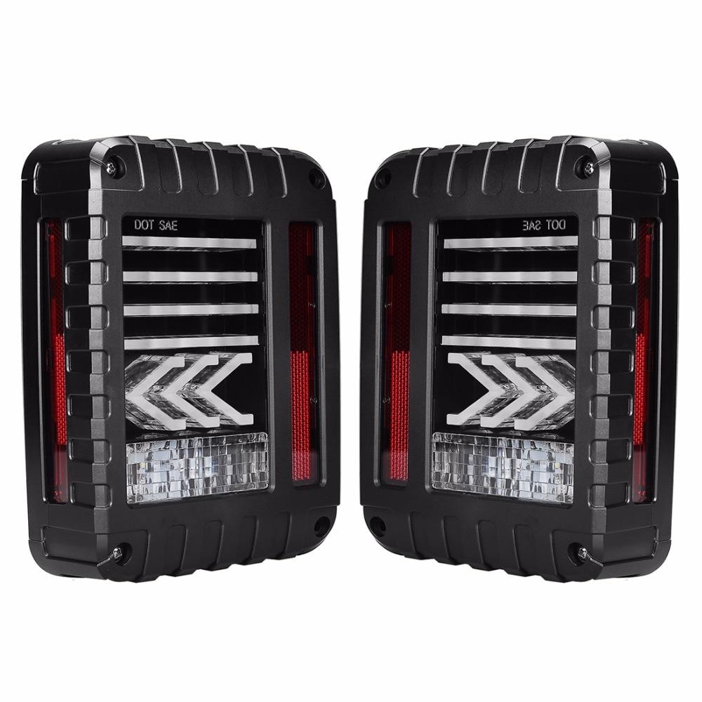 2x Brake LED Tail Light Reverse Turn Signal Lamps For 07-16 Jeep Wrangler JK US / EU 6 x 8 flat mount led tail light plug play replacement for jeep wrangler jk