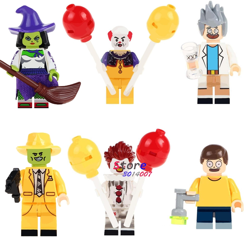50pcs Witch the Mask Magical Movie TV Cahracter Halloween Pennywise Joker Rick Morty building block bricks for kits children toy