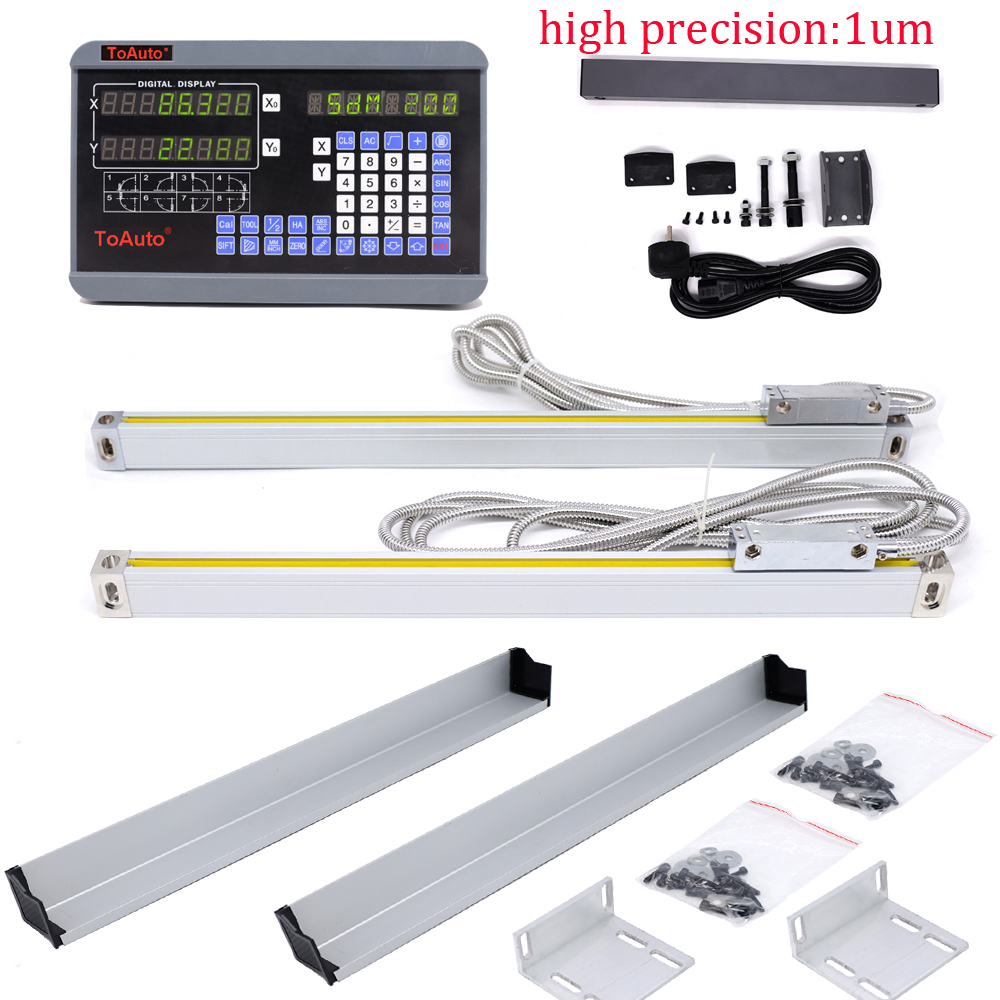 2 Axis digital readout DRO +2pcs 50-1000mm 1um linear scale linear encoder linear ruler for Drill/Milling/Grinding/Lathe Machine стоимость