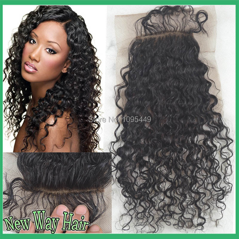 ФОТО 7a cheap virgin brazilian deep curly silk base closure hidden knots,4*4 middle/three/free part silk base closures, free shipping