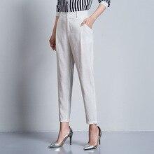 746bd4b7a19 2018 New Women Summer Harem Pants High Waist Plus Size Cotton Ankle Length  Casual Pencil Feet