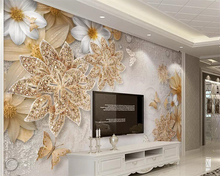 beibehang Nordic minimalist mural wallpaper luxury 3d three-dimensional gold jewelry flower butterfly TV background