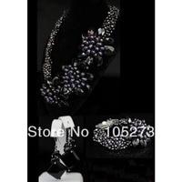 New Arriver Pearl Jewelry Set Elegant 6Rows 4 20mm Black Freshwater Pearl Onyx Flower Necklace Bracelet