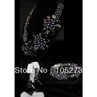 New Arriver Pearl Jewelry Set Elegant 6Rows 4 20mm Black Freshwater Pearl Onyx Flower Necklace Bracelet