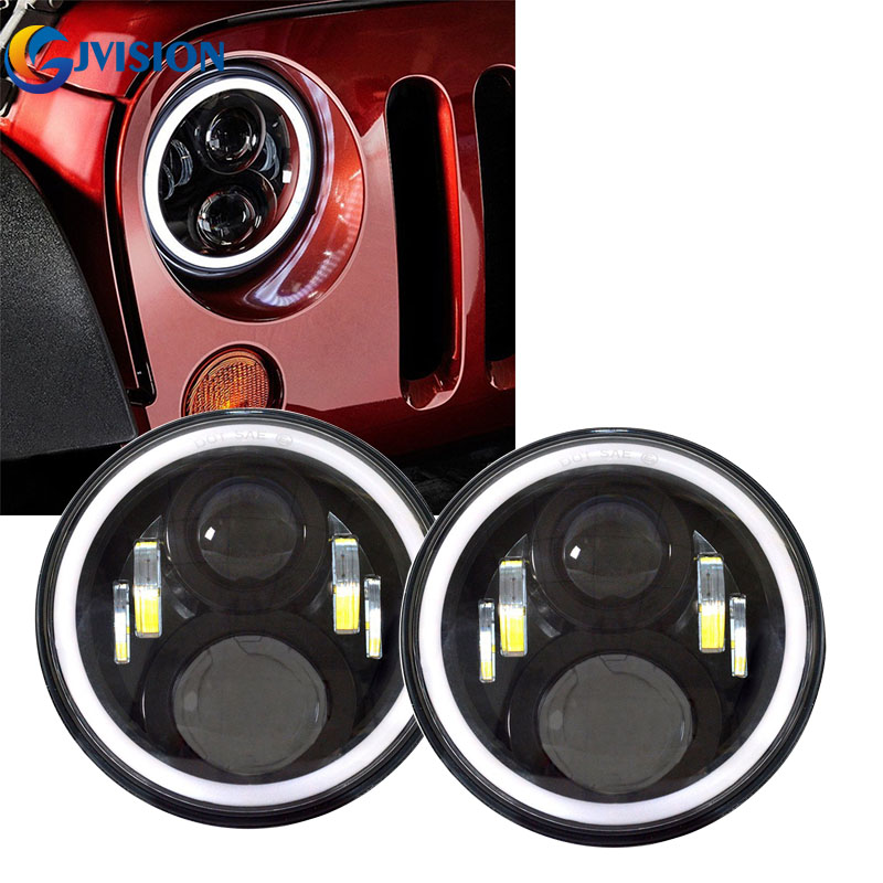 For Jeep Wrangler JK Land Rover Defender Hummer LED Headlamp 7 inch round headlight with Halo Angel eyes for Lada 4x4 urban Niva