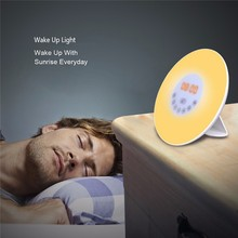 2017 Digital Lights LED Alarm Clock For Living Room Wake Up FM Radio Colorful Light Add Snooze Mode