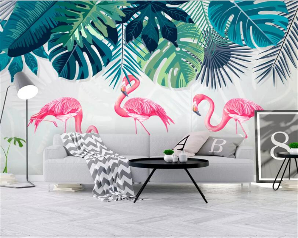 Us 8 85 41 Off Beibehang Custom Wallpaper Mural Fashion Southeast Asia Rainforest Banana Leaf Flamingo Living Room Tv Background 3d Wallpaper In