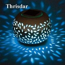 Thrisdar 7 Color Changeable Hollow Ceramic Globe Ball Solar Garden  Landscape Lawn