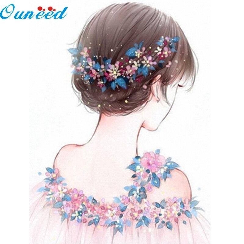 Ouneed 5D Diamond Embroidery Flower Girl Rhinestone Cross Stitch Painting Home Decor 1 Piece