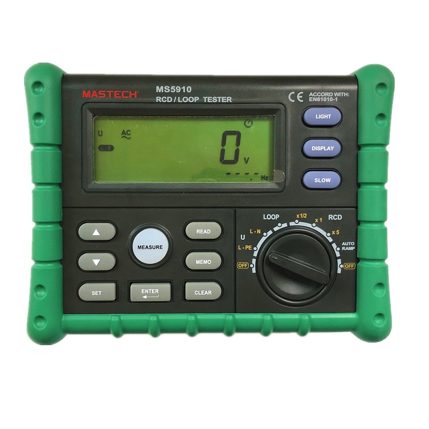 MASTECH MS5910 RCD Loop Resistance Tester Circuit Trip out Current Time Detector with USB Interface
