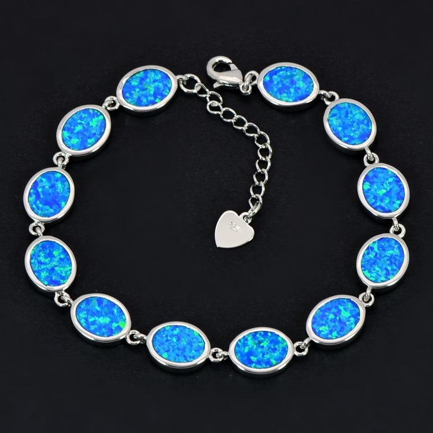 Wholesale & Retail Fashion Fine Blue/White/Green/Orange Oval Fire Opal Bracelet 925 Sterling Sliver Jewelry BNT16022706