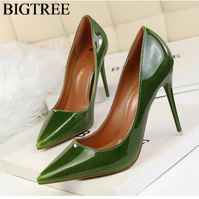New Spring Women Elegant Pumps European Fashion High Heels Shoes Patent Leather Shallow Pointed Sexy Thin Ladies Shoes OL Office spring summer sexy nightclub shallow mouth thin high heels pu leather buckle square toe pumps shoes fashion elegant silver pumps