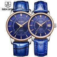 Sekaro любовника пару часов Для мужчин Для женщин часы автоматические механические Элитный Бренд Тенденции моды Сталь Водонепроницаемый любо