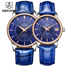 Sekaro любовника пару часов Для мужчин Для женщин часы автоматические механические Элитный Бренд Тенденции моды Сталь Водонепроницаемый любовь часы для подарка