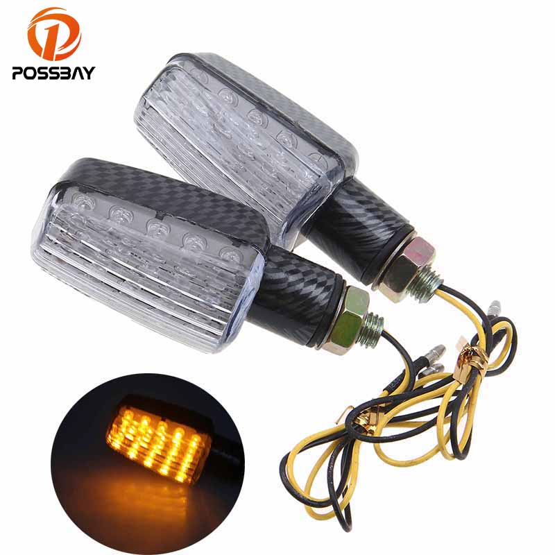 POSSBAY Carbon Fiber Style Motorcycle Turn Signals Street Bike ATV Scooter Indicator Lamps Amber Light Universal Motorbike Parts