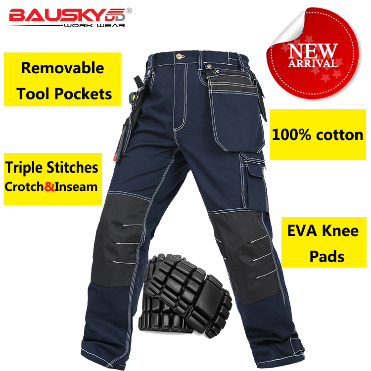 Bauskydd Mens carperner 100% cotton durable multi pockets work trousers with eva knee pads work pant workwear free shipping two short handle selector switch 22mm rotary knob one open close two gear