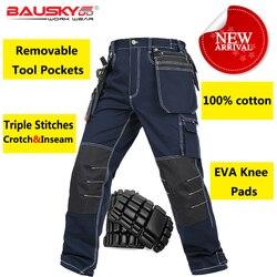 Bauskydd-pantalon de travail 100% coton   Pantalon de travail multi-poches durable avec genouillères en eva, livraison gratuite