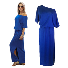 Sexy Split Up Maxi Dresses for Women Ladies Party Prom Club Vestidos Plus Size Casual Loose Short Sleeve Button Long Dress Blue