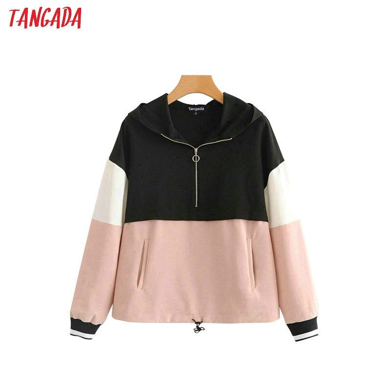 Tangada women bomber jacket pink female autumn 2019 long sleeve zipper ladies oversized jackets outwear HY140