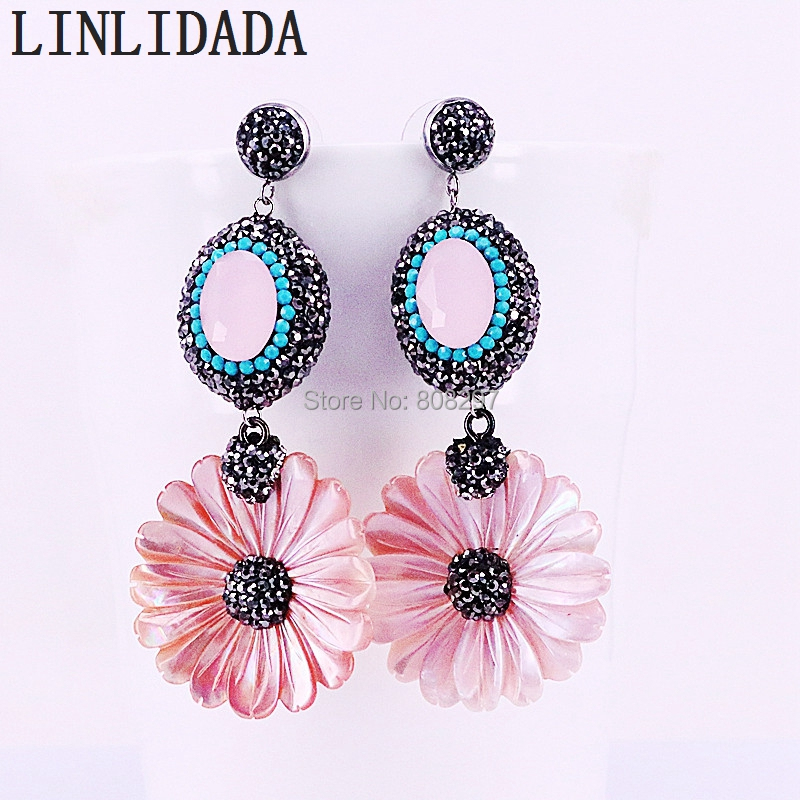 3Pair Fashion pink shell Carved flower earrings Paved Rhinestone Drop Dangle earrings for lady jewelry