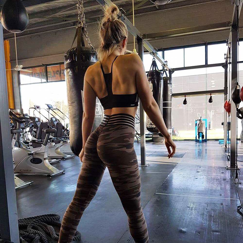 2019 New Fashion Camouflage Printed Stretch   Leggings   Brown Push Up Bodybuilding Pants Casual Super Elastic Sexy Slim   Leggings