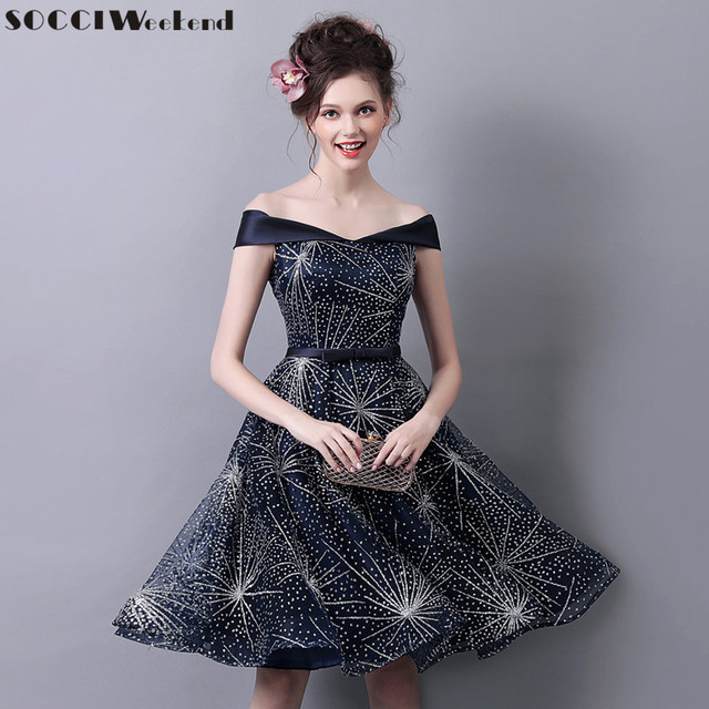 SOCCI Weekend Vintage Cocktail Dress 2017 Navy Blue Off shoulder Elegant Formal Prom Party