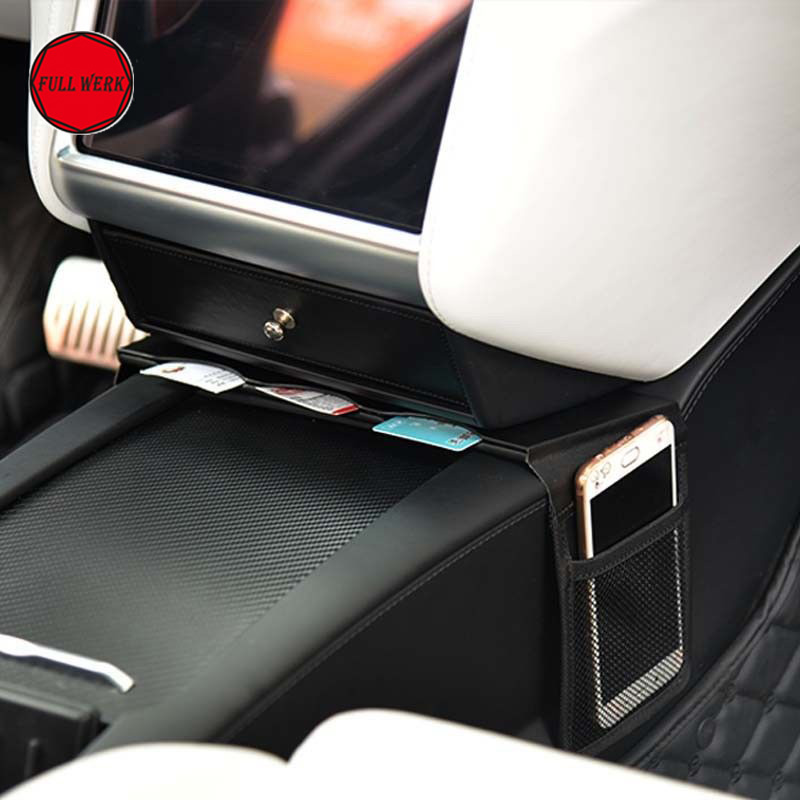Center Console Card Organizer Armrest Box Storage Phone Holder Clip for Tesla Model S Model X Stowing Tidying Accessories 1pc car center console armrest box sticker decal wrap guard protector cover for tesla model s model x auto interior accessories