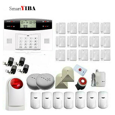 SmartYIBA Home Security Alarm System With PIR Motion Sensor Door Alarm Glass Break/Fire/Smoke Sensor Remote GSM SMS Alarma Kits yobang security gsm wifi auto dial home alarm system rfid tags intelligent alarma kits glass break sensor strobe siren sensor