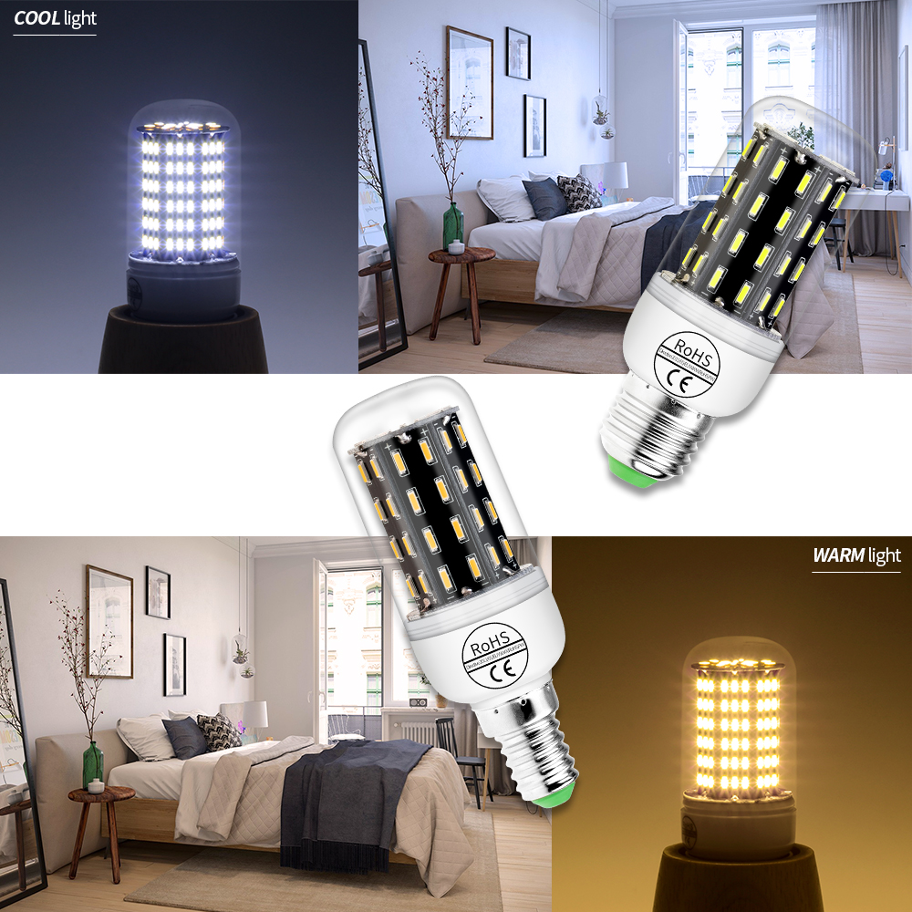 Купить с кэшбэком Led Lamp E27 110V Bombillas Led E14 Candle Lamp 4014 SMD Spotlight Corn Bulb 7W 9W 15W 20W Home Led Light Energy Saving 85-265V