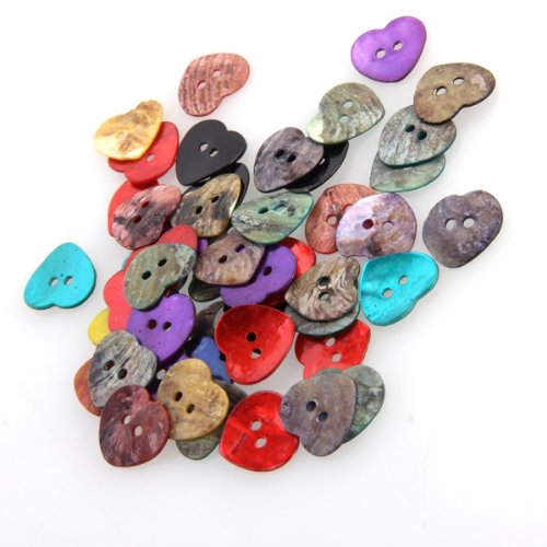 NOCM Hot 50 x 15 mm Pearl Mussels Heart Buttons TOP