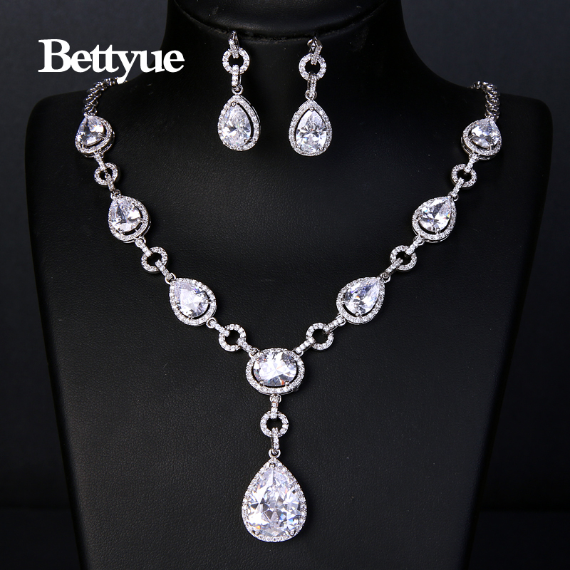 Bettyue Brand Charm Luxury High Quality Cubic Zircon White Gold Color Gothic Style Wedding Jewelry Sets For Woman Party Gifts