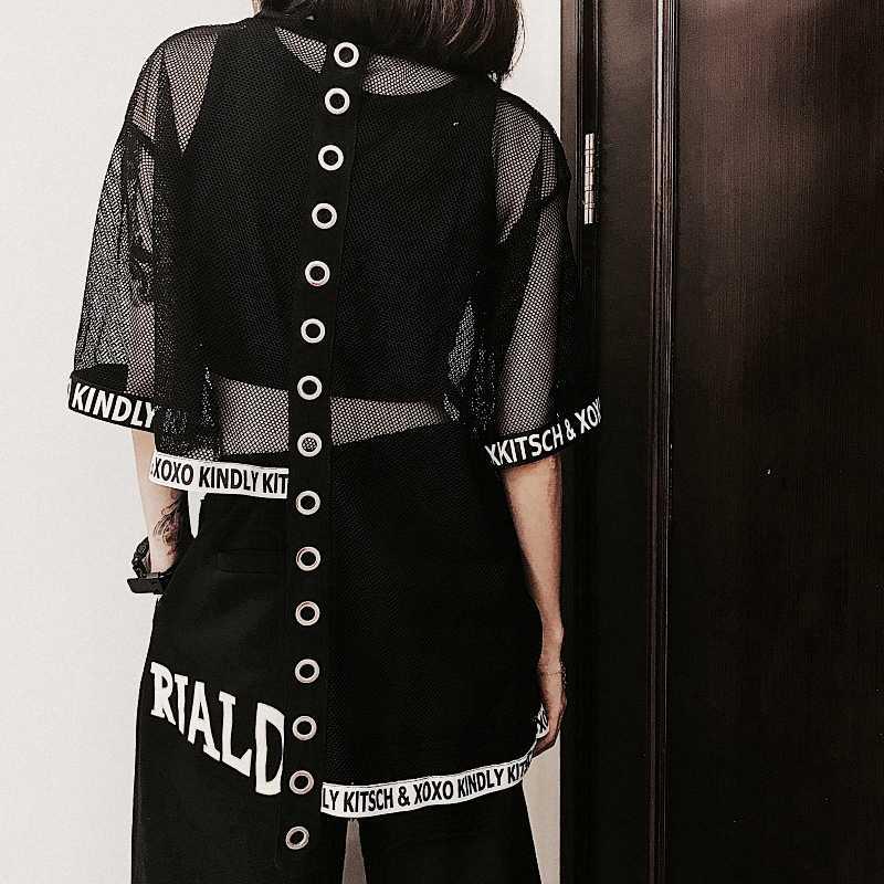 Harajuku женские футболки Ulzzang с буквенным принтом, топы, футболки, женская модная летняя Прозрачная Футболка, Сетчатая футболка с круглым вырезом, дропшиппинг, 4TX6037