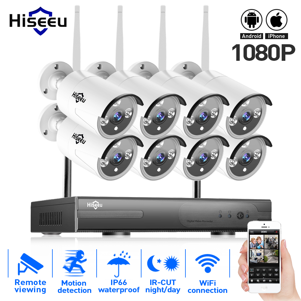 2MP 1080P CCTV System 8ch HD Wireless NVR kit 3TB HDD Outdoor IR Night Vision IP Wifi Camera Security System Surveillance Hiseeu cctv system 720p 2ch hd wireless nvr kit outdoor ir night vision ip camera wifi camera kit home security system surveillance