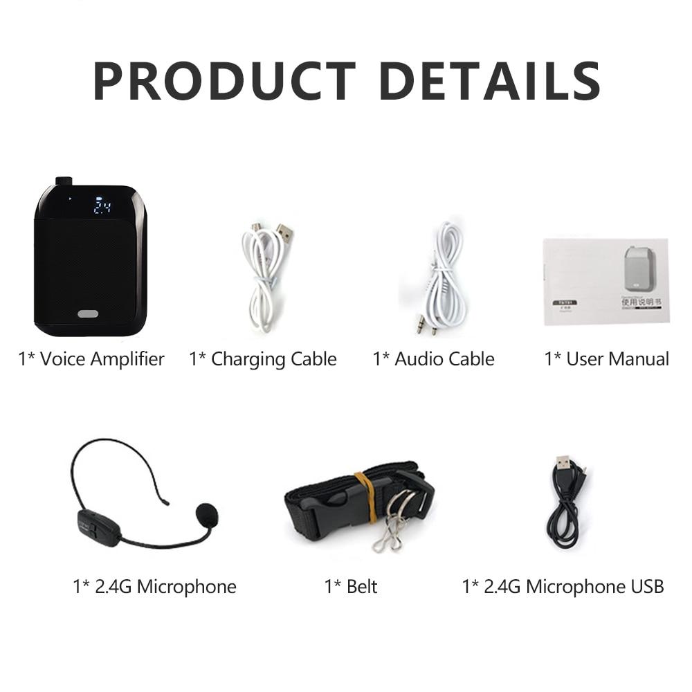 2.4 グラムワイヤレスマイク音声アンプガイド教師用外部スピーカーポータブルメガホンサポートディスク TF カード XIAOKOA  グループ上の 家電製品 からの メガホン の中 3