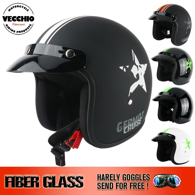 ВЕККЬО стекловолокно мотоцикл шлем открытым лицом 3/4 мотоциклов мотокросс шлем capacete КАСКО старинные ретро шлем ЕЭК