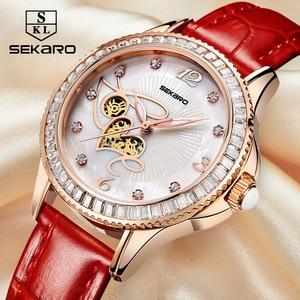 Image 4 - SEKARO נשים קרמיקה ריינסטון שעון אהבת עיצוב נשים של שעוני יד למעלה מותג יוקרה נשים שעונים מתנה Relogio Feminino