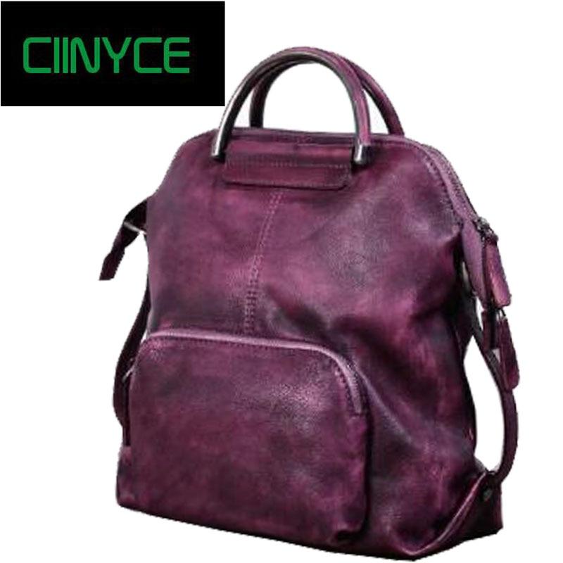 Real Cowhide Genuine Leather Backpack Women's Bag Vintage Designer Girls Travel School Bags Famous Brand Female Laptop Rucksack