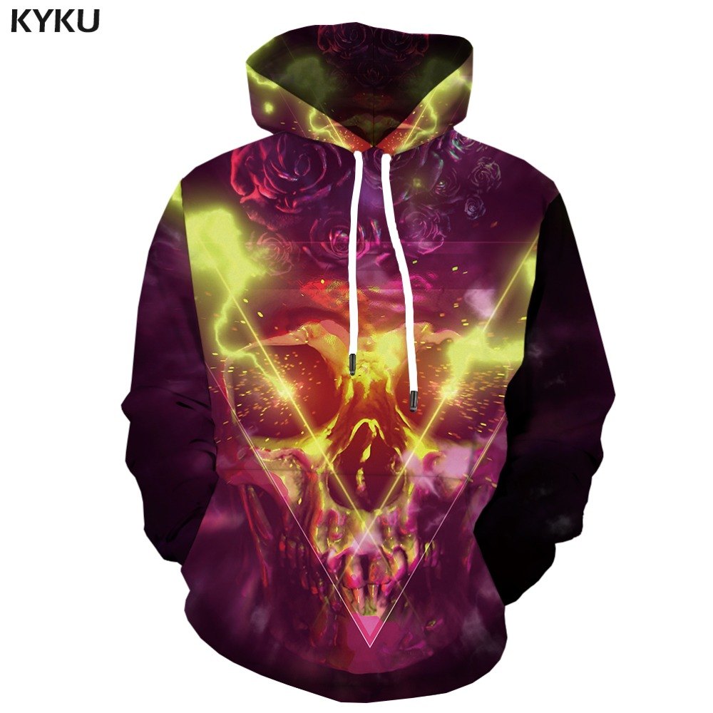 KYKU Brand Skull Hoodie Men Flame Print Rose Hoody Anime Metal Hooded Casual Space Hoodes 3d Long Sleeve Cool New Winter