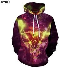 цены KYKU Brand Skull Hoodie Men Flame Hoodie Print Rose Hoody Anime Metal Hooded Casual Space Hoodes 3d Long Sleeve Cool New Winter