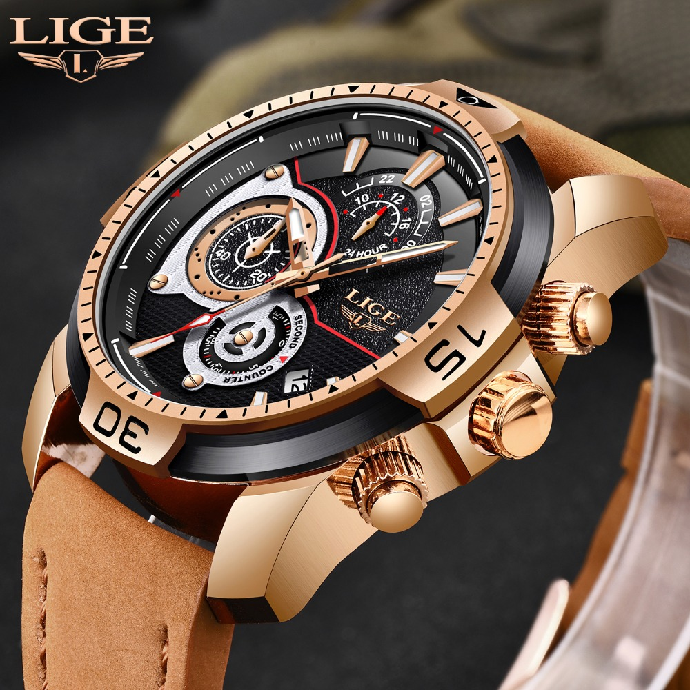 New LIGE Mens Watches Top Brand Luxury Men Fashion Casual Sports Watch Men's Military Waterproof Quartz Watch Relogio Masculino